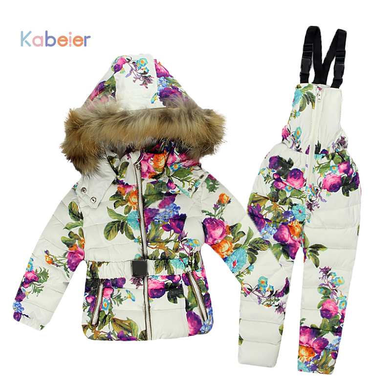 7bf6a12ea Winter Clothing Set for Girls Flowers Down Coat +Overalls Suits Warm ...