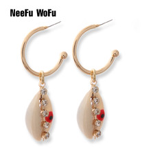 NeeFuWoFu shell Earring ring earrings eye pearl Grape string Brand Big Ear Drops Copper Charm Earrings(China)