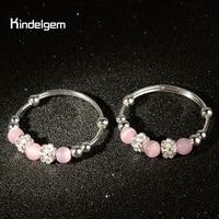 Kindlgem Pure 999 Sterling Silver Baby Bracelets For Girl Kid Jewelry Lovely Pink Opal Flower Real