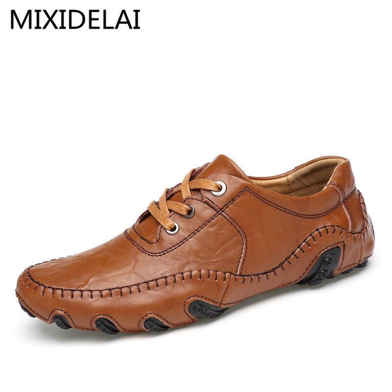MIXIDELAI Brand 2019 New Luxury Genuine Leather Flats Italian Mens Loafers Men Shoes Casual Fashion Slip On Driving Designer