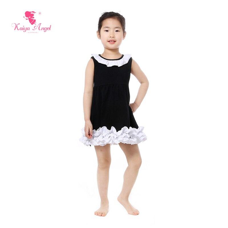 best sneakers 57db4 bdb4e US $46.62 10% OFF Kaiya angel mädchen kleid sommer rüschen kleider rosa  gelb schwarz strand kleid mit rüschen kinder freizeitkleidung kinder ...