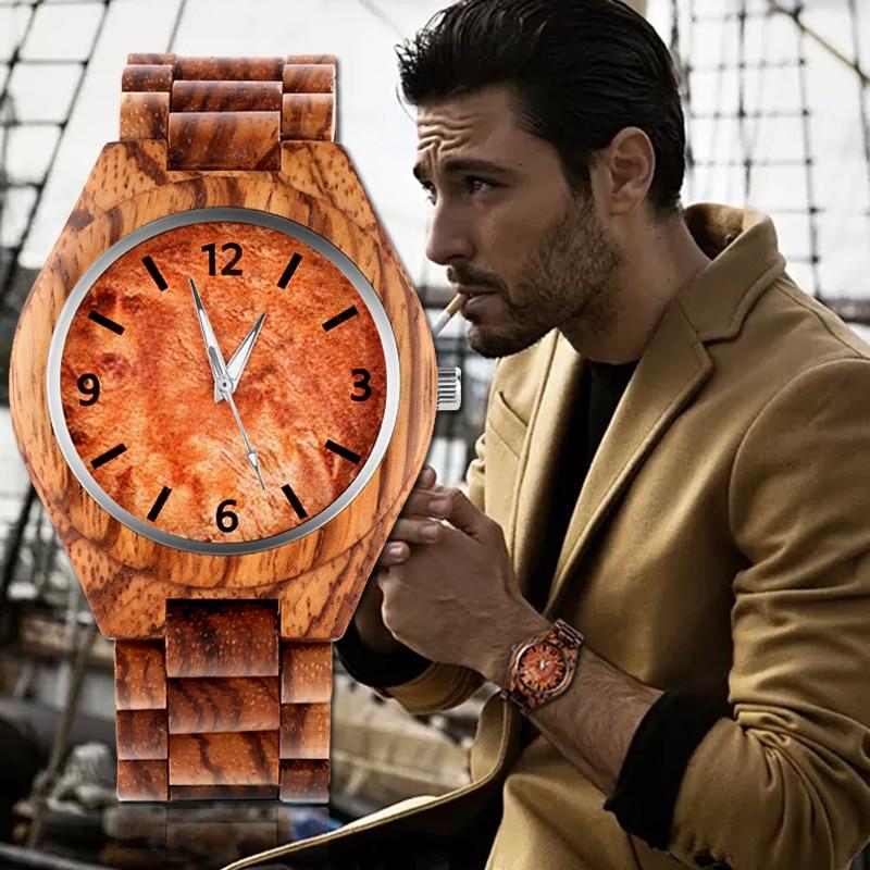 REBIRTH Wood Watch Clock Men's Men Luxury Relogio Montre Souvenir Saati Homme Masculino