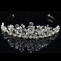 Luxury Handmade Top Quality Bridal Tiara Crown Wedding Headband Pearls Crystal Tiara Headpiece