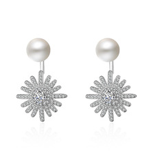 Hot sell fashion sunflower shiny crystal imitation pearl women 925 sterling silver ladies`stud earrings jewelry gift female girl