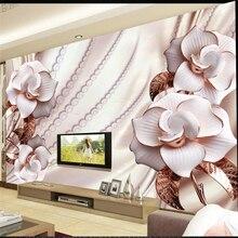 Beibehang Foto de Encargo Mural 3D Estéreo Oro Joyería Flores 3d TV Telón de fondo Decorativo De La Pared Fondos de Pantalla Papel de Parede Mural