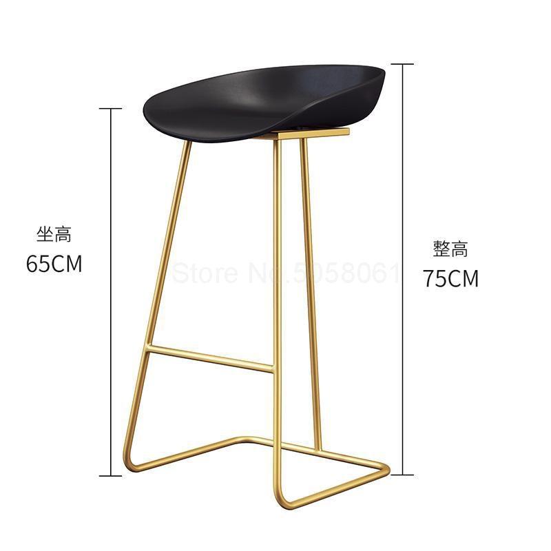 Скандинавский барный стул из кованого железа креативный простой барный стул кафе Золотой барный стул передний высокий стул - Цвет: ml13