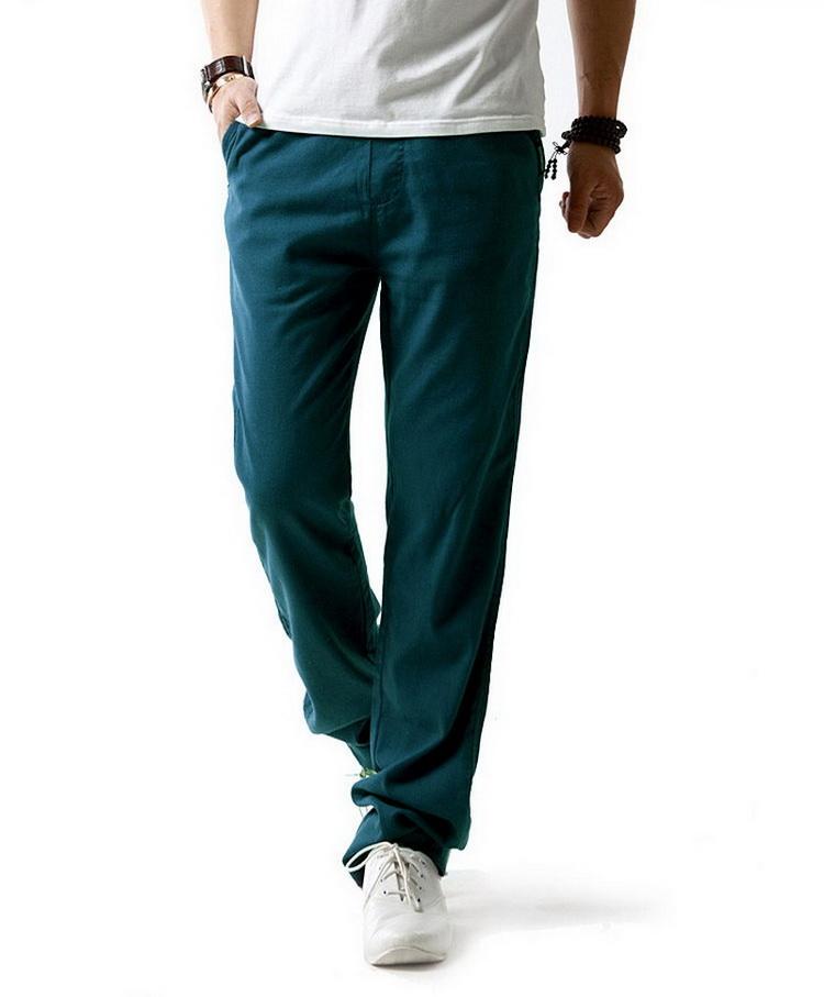 Pantalon hommes en lin et coton bleu canard