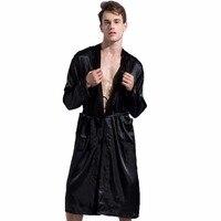 Nero Nuovo Allentato Casuale degli uomini di Rayon Raso Robe Abito di Colore Solido Yukata Kimono Accappatoio Pigiami Sleepwear Pajamas Sml XL XXL
