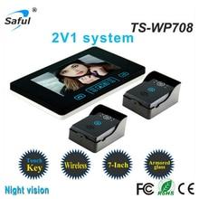Cheaper wireless unlock hands-free call talk 7″LCD Monitor  wireless video intercom system doorphone with 2 pcs rainproof outdoor camera