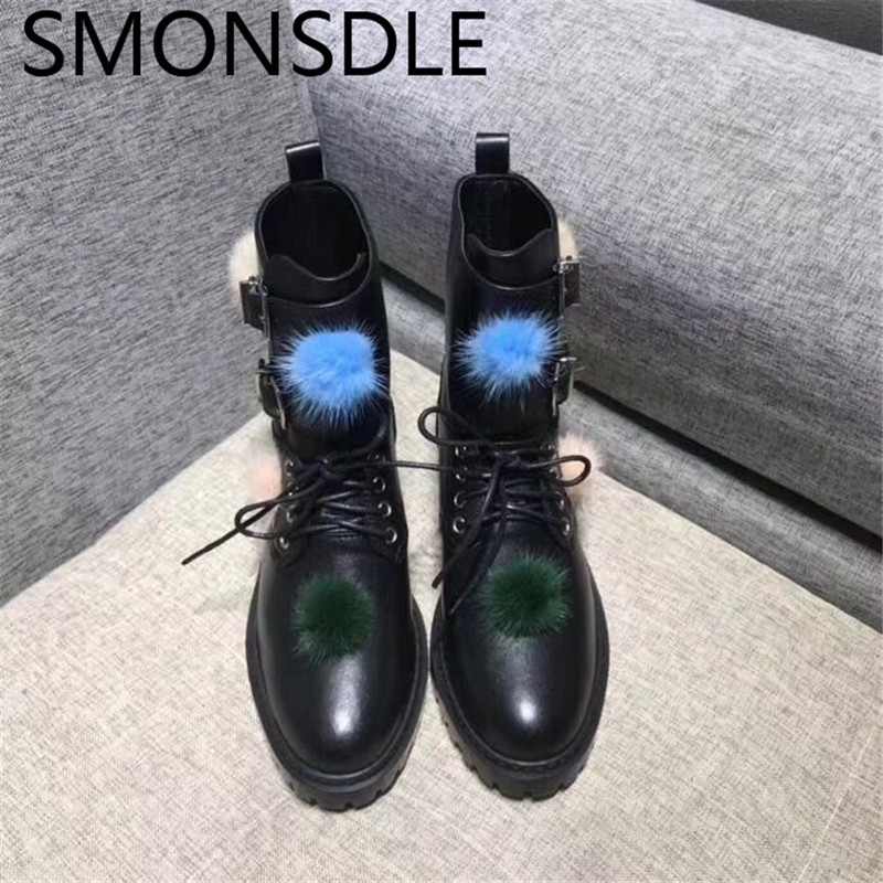 SMONSDLE 2018 New Autumn Winter Black Genuine Leather Women Ankle Boots Buckle Lace Up Round Toe Women Martin Boots Shoes Woman high quality full genuine leather boots round toe buckle autumn winter riding martin boots punk women ankle boots