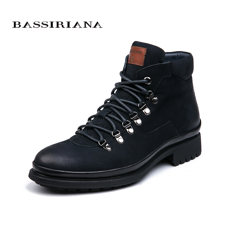 BASSIRIANA 2018 New Genuine Leather Shoes Men Winter Boots Black And Dark Blue Lace-up Basic 39-45 Free Shipping