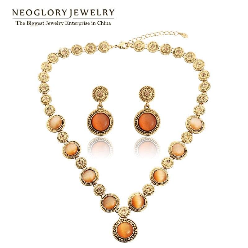Neoglory Austrian Rhinestone Opal Bridesmaid Jewelry Set Chain Necklace Earrings Brand 2018 New Vintage Style JS10 petal rhinestone chain fringe necklace