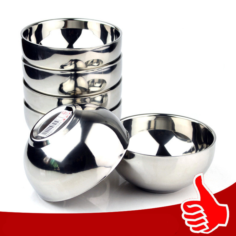 5Pcs stainless steel double-insulated home rice soup bowl anti-hot bowl food container for children 12/14/16/18cm