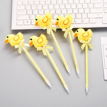 Kawaii plush cartoon little yellow duck ballpoint pen Cute girl gift homework writing pen Office School ballpoint Pen expression matchstick style plastic ballpoint pen pink yellow