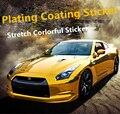 152X50 CM Car-Styling Decal Etiqueta Engomada Del Coche Del Cromo 5 Colores de Vinilo Película Inteligente Valiosa Stretch Wrap Impermeable Accesorios exteriores