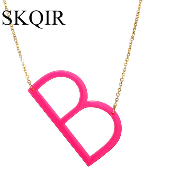 Skqir small b letter necklaces pendants pink alphabet initial skqir small b letter necklaces pendants pink alphabet initial acrylic pendant gold chain necklace for women mozeypictures Image collections