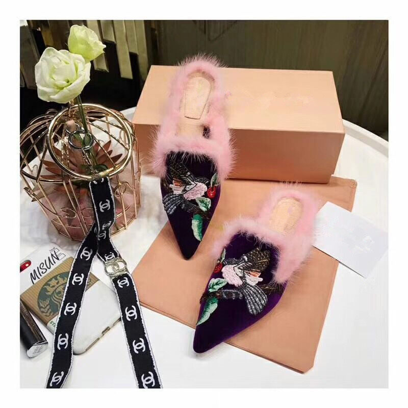 New Fur Embroidery Birds Women Slippers Flip Flops Comfortable Flat Shoes Winter Warm Women Mules Zapatos de Mujer Shoes Women insect embroidery flat mules