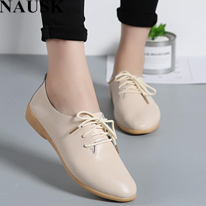 NAUSK Genuine Leather Summer Loafers Women Casual Shoes Moccasins Soft Pointed Toe Ladies Footwear Women Flats Shoes Female