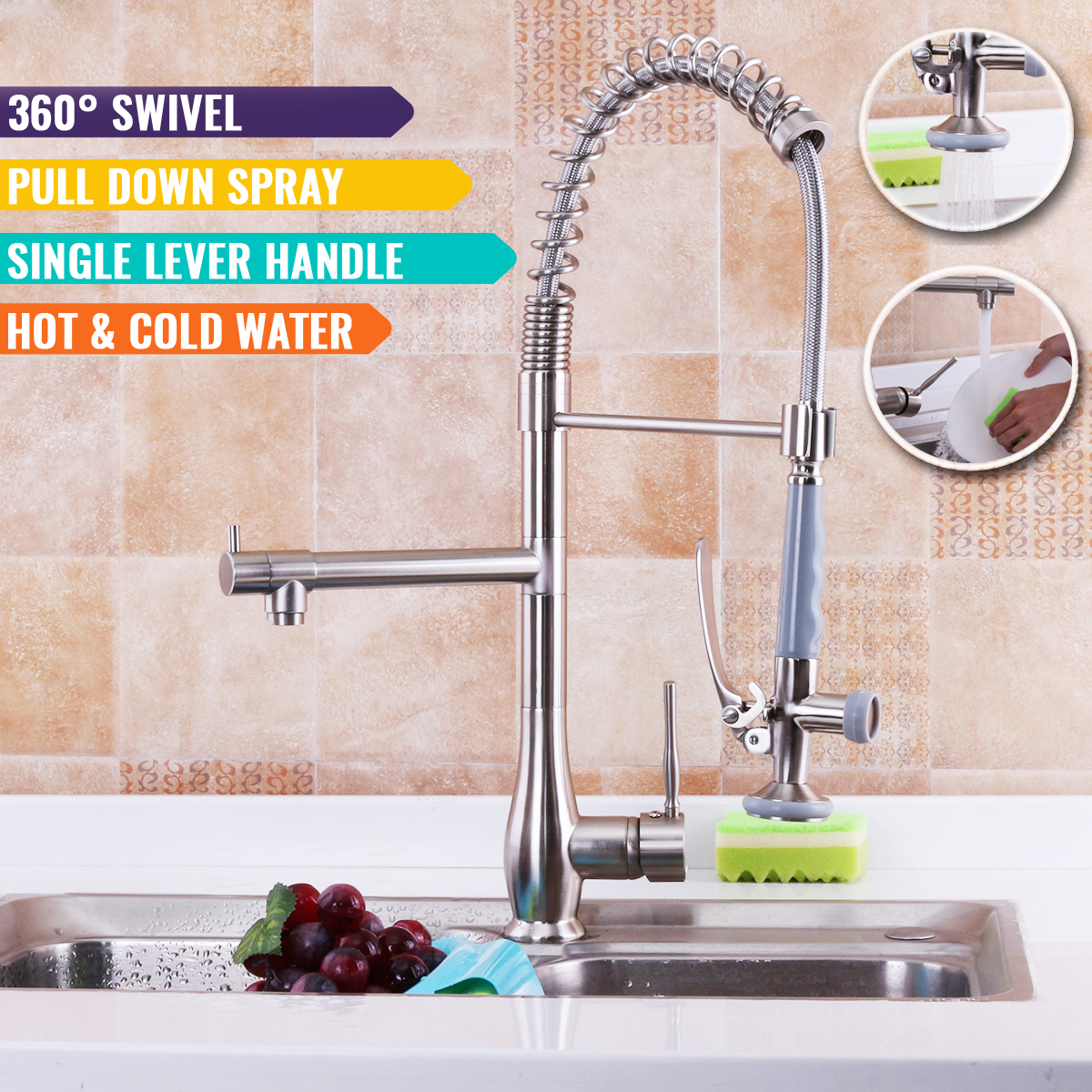 Xueqin 360Degree Rotatable Spring Pull Down Spray Kitchen Sink Faucet Brushed Nickel With Two Hoses Mixer Cold And Hot Water Tap цена 2017