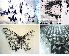 3D Butterfly Wall Sticker 12Pcs/Set PVC Black Mural DIY Design Poster Vintage Home Decor Living Room Decoration Sticker Wall(China)