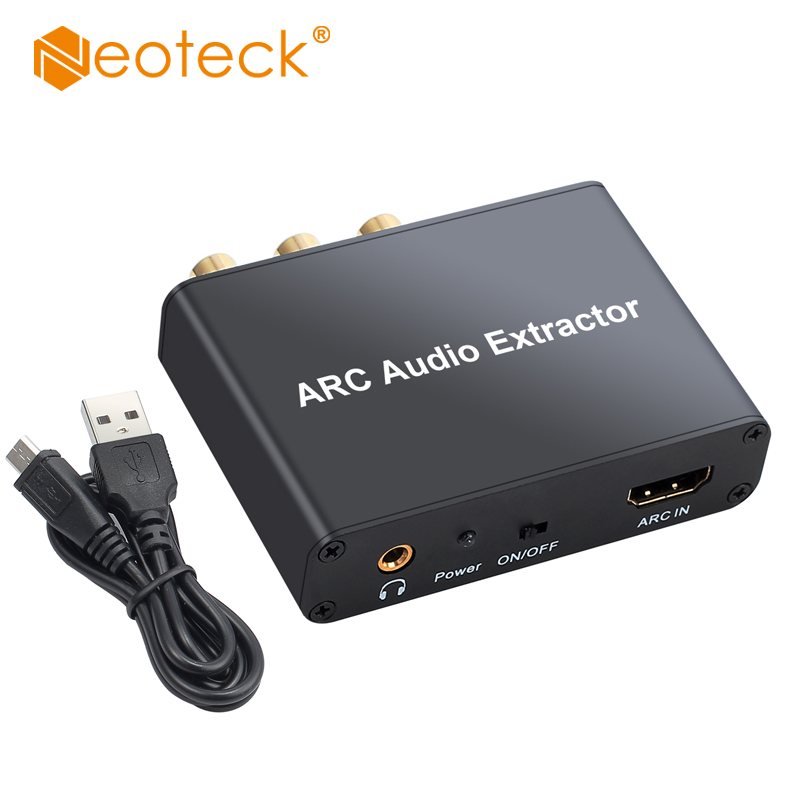 Neoteck Aluminum DAC HDMI Audio Extractor 5.1 ARC HDMI Audio Extractor DAC SPDIF Coaxial RCA 3.5mm Jack Output Digital To Analog
