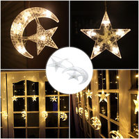 LED Star and Moon LED Curtain String Light Warm White Fairy Lights Decoration Lighting For Christmas New Year Wedding Holiday