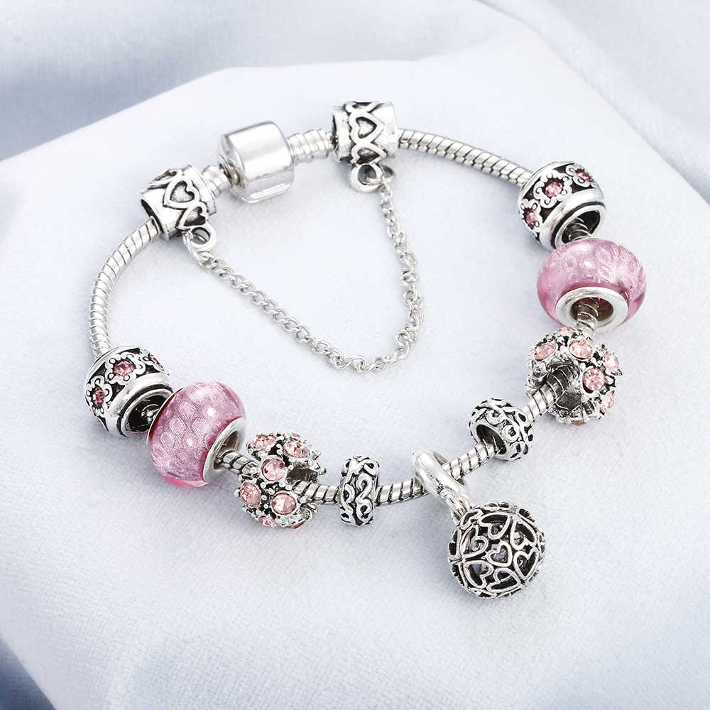 Vintage Luxury Pink Crystal Bracelet Unique Women Silver Charm Heart Elephant Flower Pendant Friendship Bangles DIY Jewelry Gift