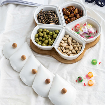 Creative Dried Fruit Disc Cover Home New Year Candy melon seeds walnut nut box ceramic platter LM01241127