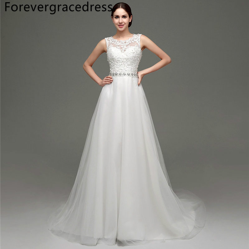 Forevergracedress Elegant Long Wedding Dress Sheer Illusion Sleeveless Lace Tulle Beaded Bridal Gown Plus Size Custom Made