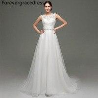 Forevergracedress Elegant Long Wedding Dress Sheer Illusion Sleeveless Lace Tulle Beaded Bridal Gown Plus Size Custom