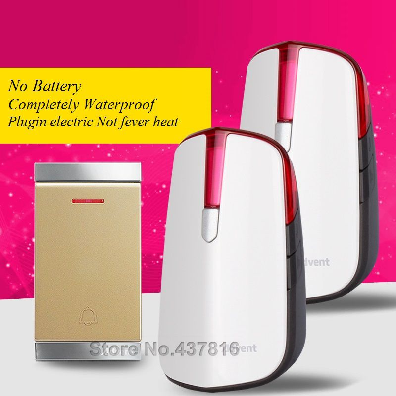 Household Wireless Doorbell,1 Transmitter+2 Receivers, No Need Battery Completely Waterproof Plugin Electric Not fever heat 2 receivers 60 buzzers wireless restaurant buzzer caller table call calling button waiter pager system