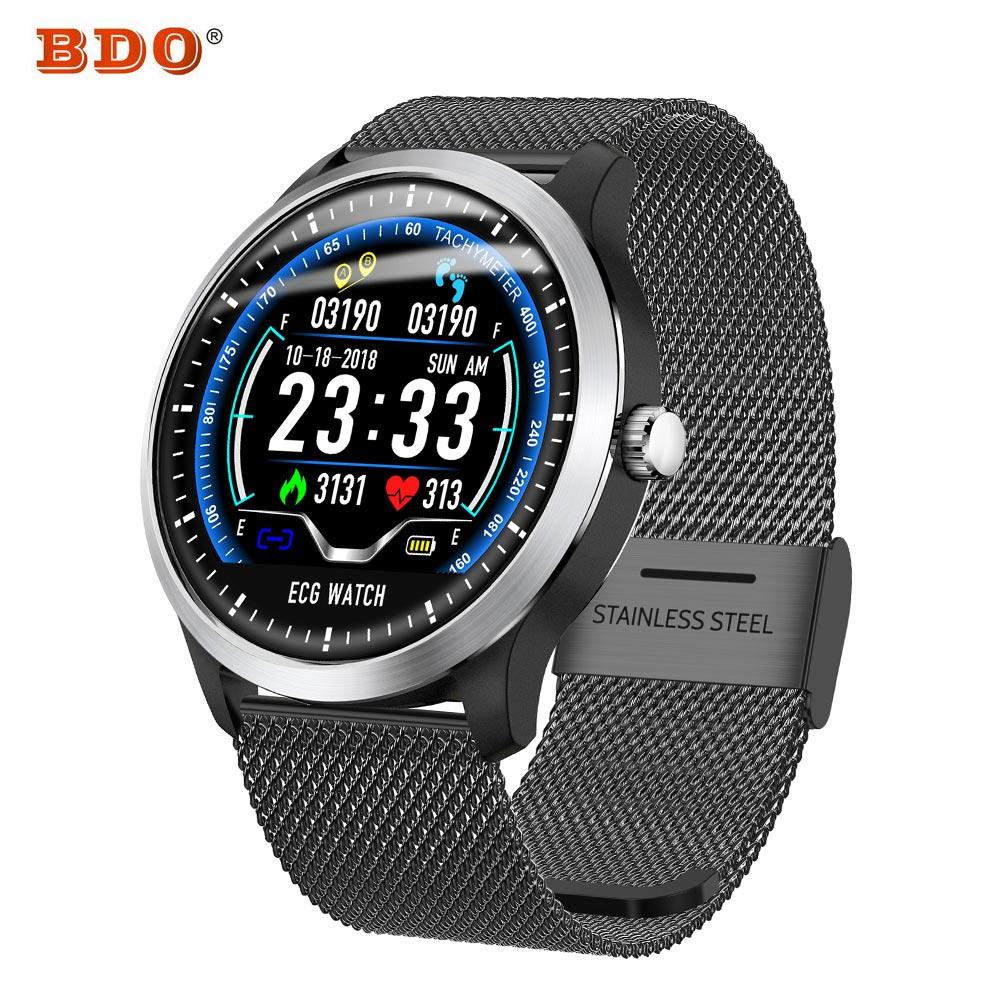 Aspirante Astuto Della Vigilanza N58 Braccialetto Ecg Smartwatch Uomini Di Misurazione Della Frequenza Cardiaca 3d Ui Sport Wristband Inseguitore Di Fitness Fascia In Acciaio Inox