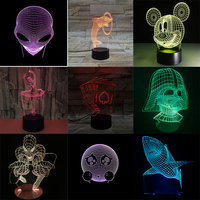 Creative Shark LED 3D Night Light Three dimensional Kids Sleeping Bedroom Table Lamp 3D Optical Illusion Nightlight Decorate