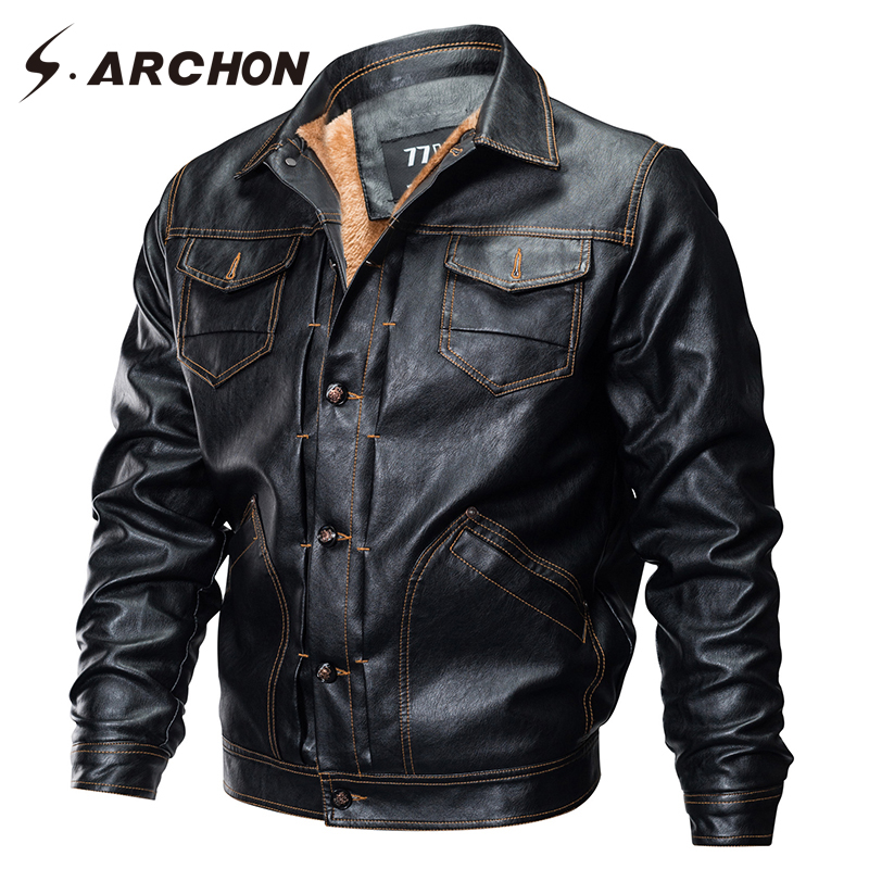 S.ARCHON Winter PU Leather Military Pilot Jackets Men Casual Tactical Fleece Bomber Jacket Windbreaker Clothes Motorcycle Jacket