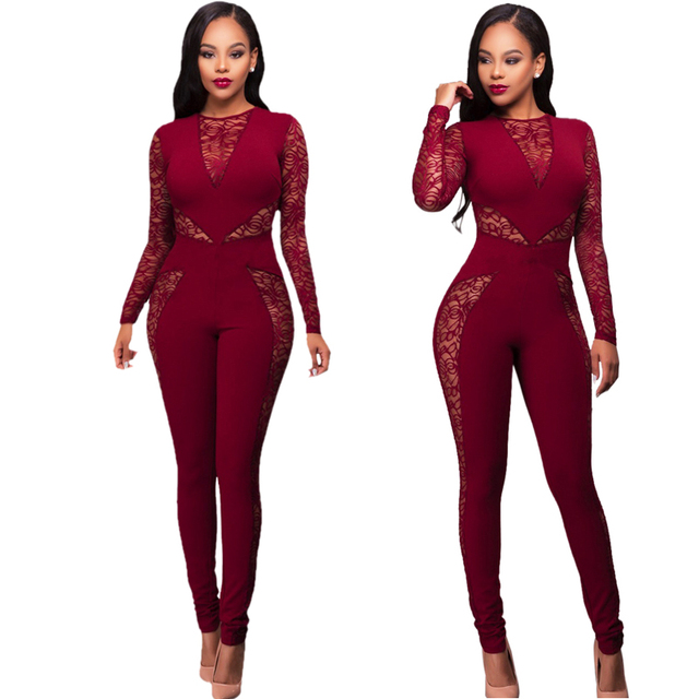Fashion 2016 New Rompers Womens Jumpsuit Long Sleeve Lace Patchwork Playsuits Black Red Overalls Bodycon Sexy Costume Plus Size