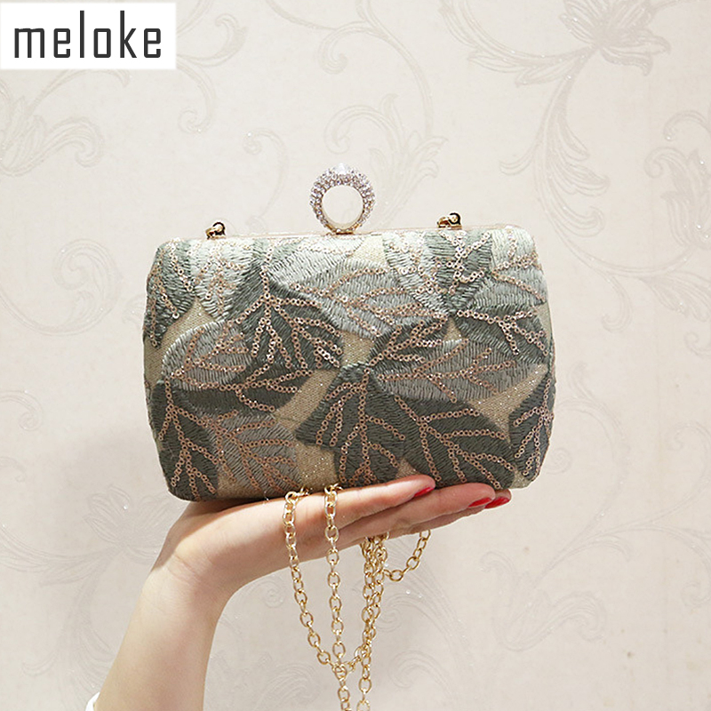 Meloke 2019 New Women Sequins Evening Clutch Bling Embroidery Clutch Wallets Banquet Bags For Women Dimond Ring Bags MN1342