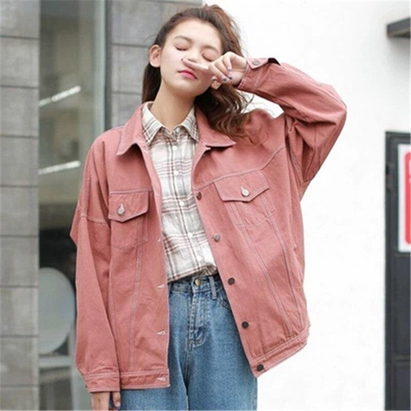 2019 Winter   Jacket   Women Plus Size Long Sleeve   Basic   Streetwear Coat Solid Color Loose Ladies Denim   Jacket   Vintage Button Coat41