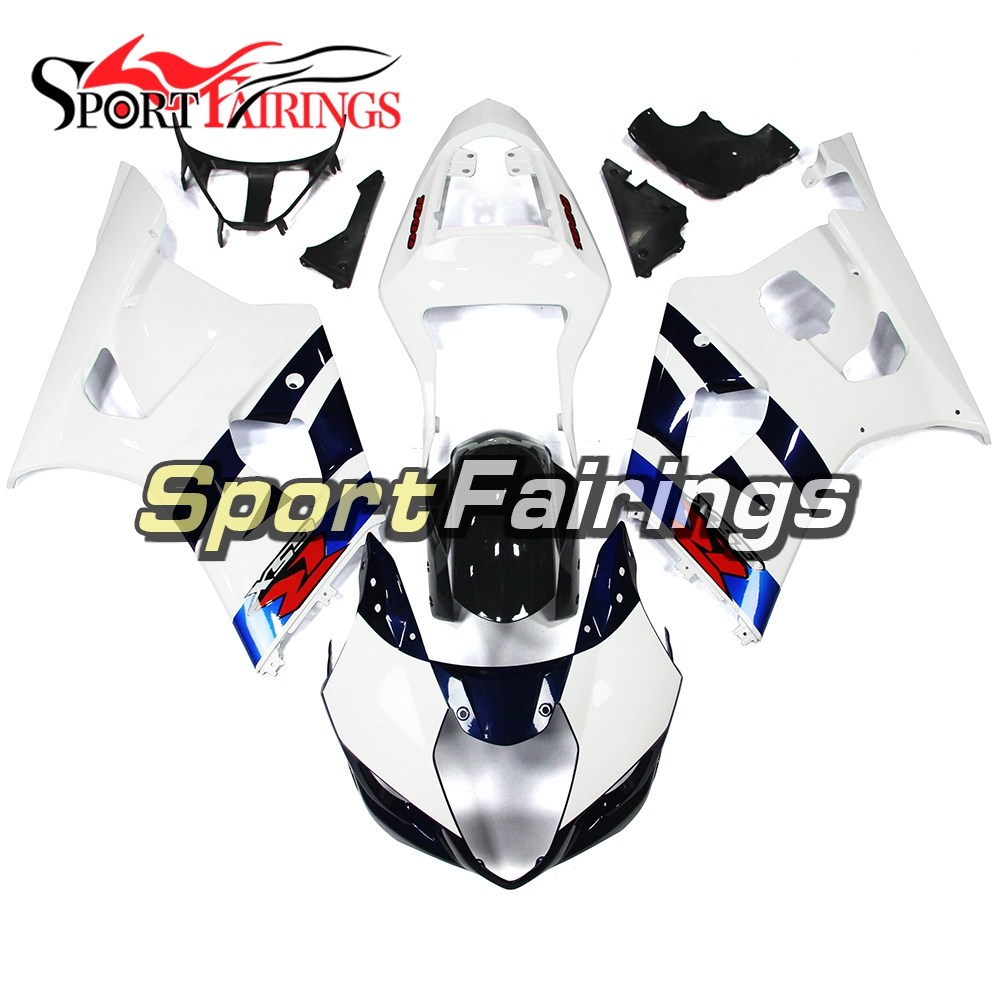 Обтекатели подходит для Suzuki GSXR1000 GSX-R 1000 K3 Год 03 04 2003 2004 впрыскивание, АБС-пластик мотоцикл комплект обтекателей в белом и темно-синем цвете