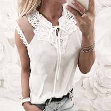 Summer Women Chiffon Blouse Mesh Lace Patchwork Ladies Blouses Tops Womens Sexy Sleeveless V Neck Solid Vintage Blusas Mujer
