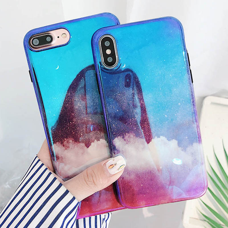 Luxury Blu-Ray Phone Case For iPhone 6 6S 7 8 Plus X Hot Fashion Cool Cloud blue Sky Soft IMD Glossy Phone Back Cover Coque