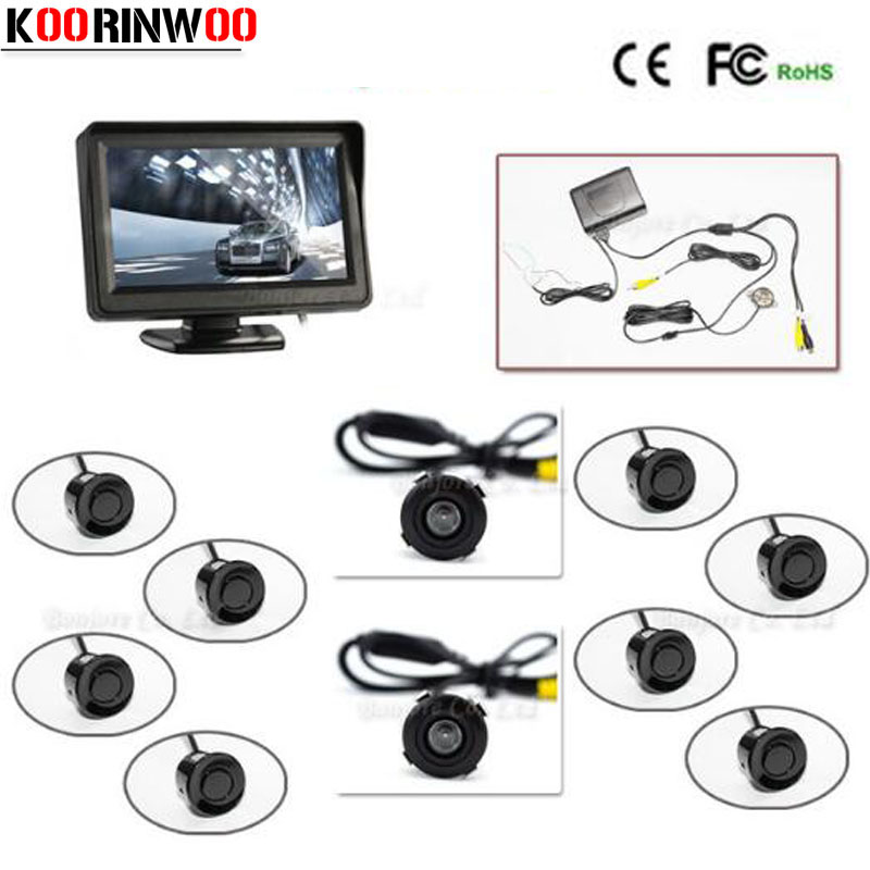 Full set 4 3 TFT LCD Car Monitor Reverse Radar sensor System 8 Alarm with Front