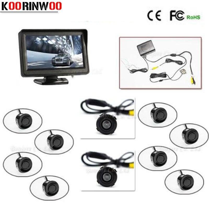 Ensemble complet 4.3 'TFT LCD moniteur de voiture système de capteur de Radar inverse 8 alarme avec caméra avant vue arrière caméra aide au stationnement