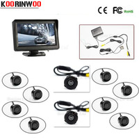 Full set 4.3' TFT LCD Car Monitor Reverse Radar sensor System 8 Alarm with Front Camera Rear view Camera Parking Assistance