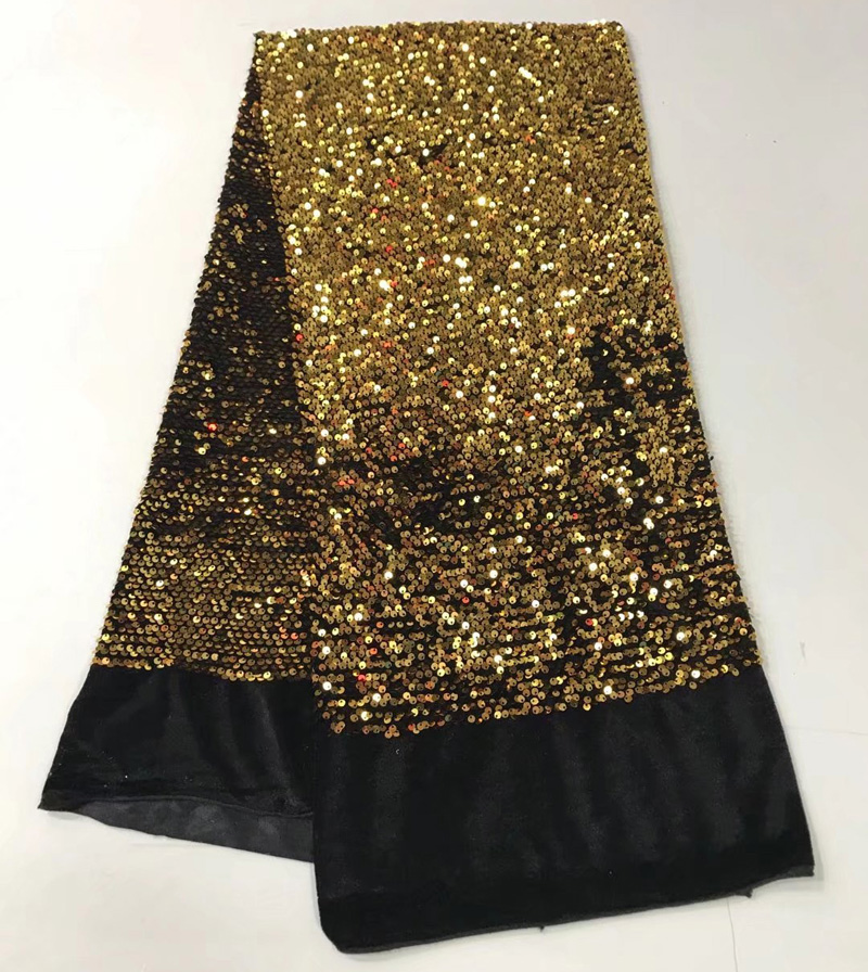 Free shipping (5yards/pc) wonderful gold sequins lace fabric African velvet sequins lace fabric for shining party dress  FJY132Free shipping (5yards/pc) wonderful gold sequins lace fabric African velvet sequins lace fabric for shining party dress  FJY132