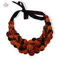 Colourful African Button Necklace African Accessories for Women Bohemia Style Necklaces Rope Chain Statement Necklace WYA052