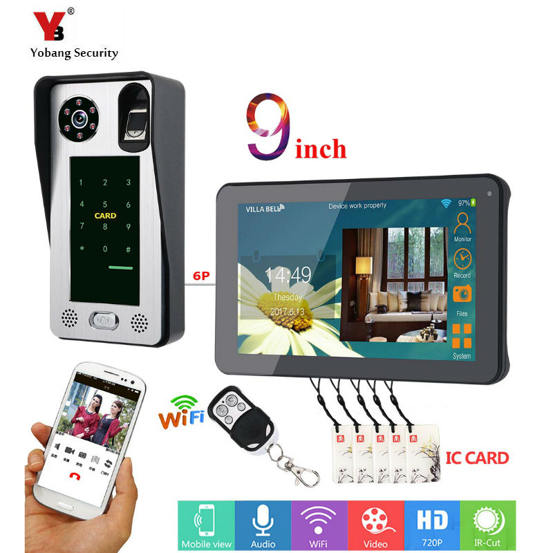 9 Inch Wired Wifi Fingerprint IC Card  Video Door Phone Doorbell Intercom System With Door Access Control System,Support Remote