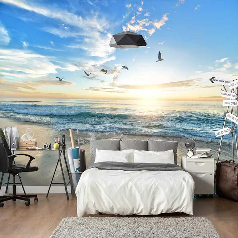 מותאם אישית ציורי קיר טפט 3D חוף ים נוף שקיעה תמונה קיר נייר 3 D סלון חדר אוכל חדר רקע קיר דקור