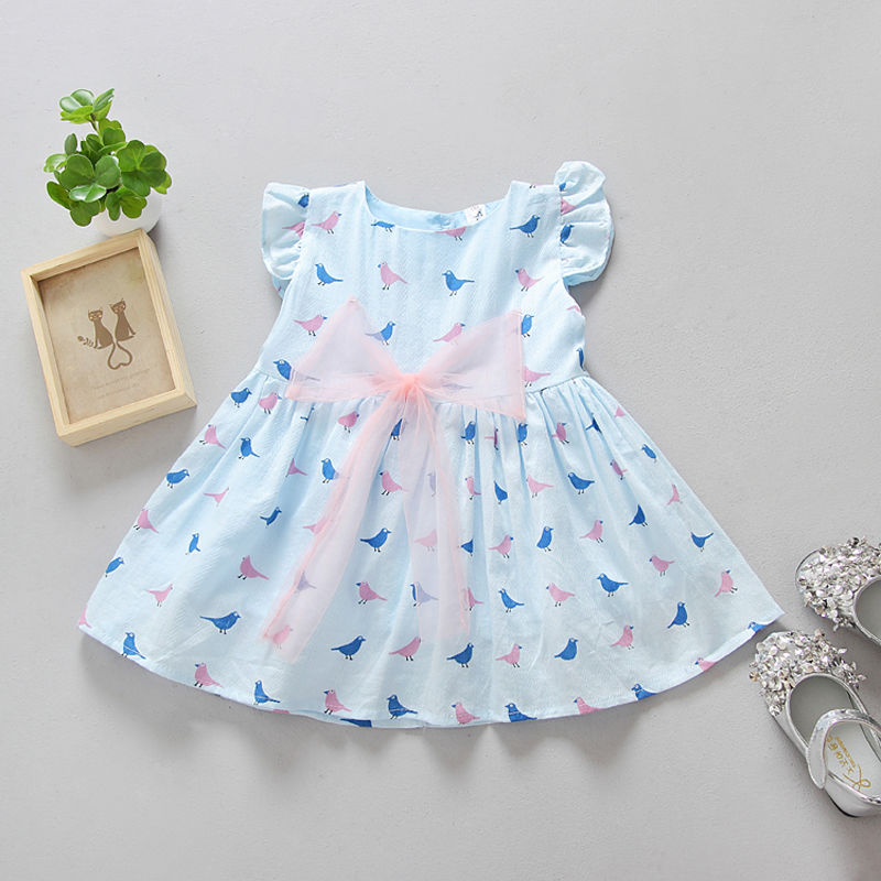 2017 Cute Toddler Baby Girls Kids Pink Blue White  Bowknot Cotton Dress Summer Party Sleeveless Birds Princess Dresses Size 1-6T new summer toddler kids baby girls floral sleeveless princess dress flower tutu party dresses
