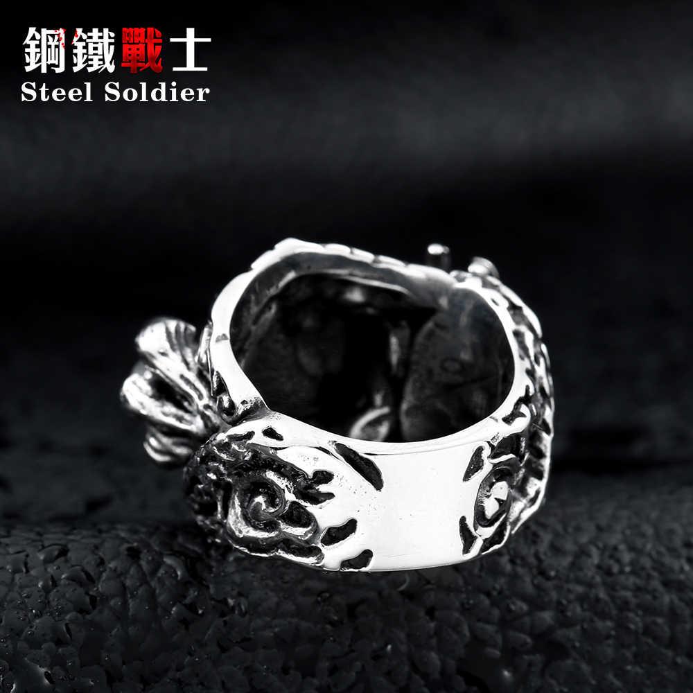 เหล็กทหาร 2018 มาใหม่จีนมังกรแหวนสแตนเลสกับหินสีดำแฟชั่นเครื่องประดับอุปกรณ์เสริมสำหรับผู้หญิง