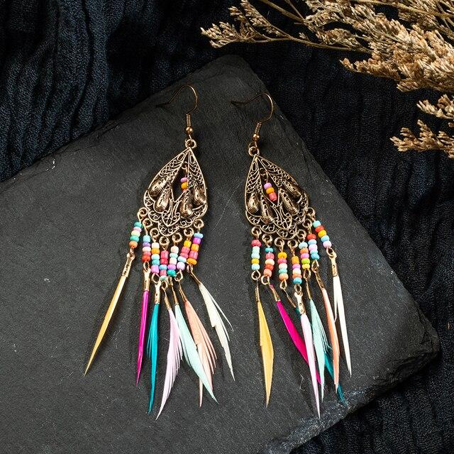 Acheter Boucles d'oreilles plume bohème